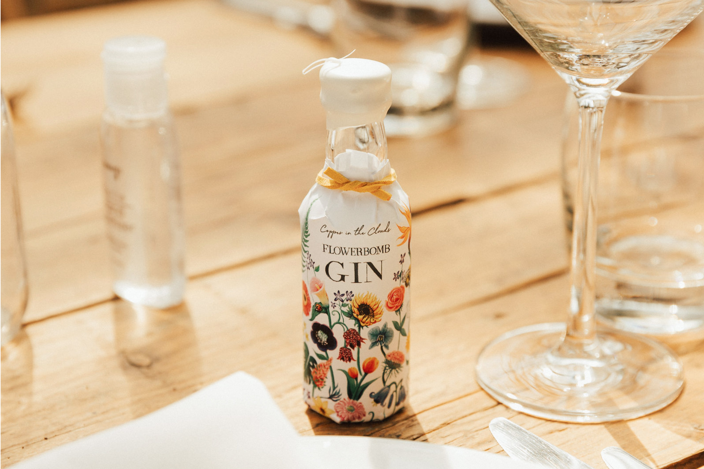 Copper in the Clouds miniature gin wedding favour table setting